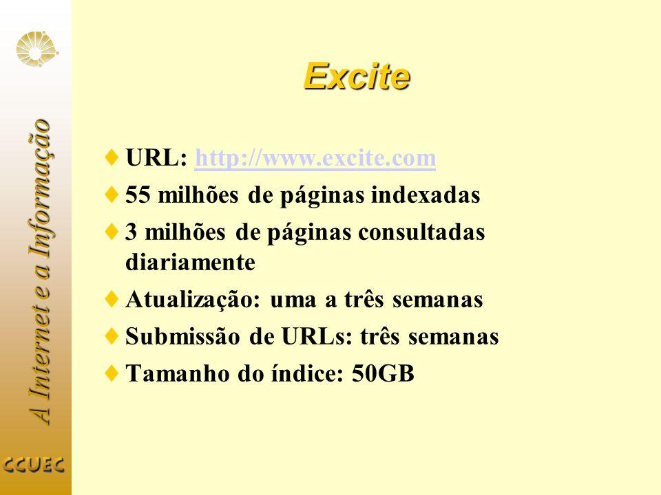 A Internet e a Informação Excite URL: http://www.excite.comhttp://www.excite.com 55 milhões de páginas indexadas 3 milhões de páginas consultadas diar