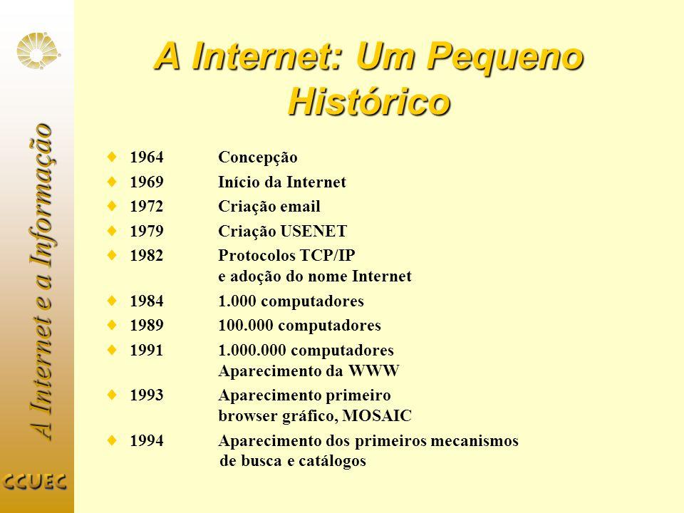 A Internet e a Informação A Internet: Um Pequeno Histórico 1964 Concepção 1969 Início da Internet 1972Criação email 1979Criação USENET 1982 Protocolos