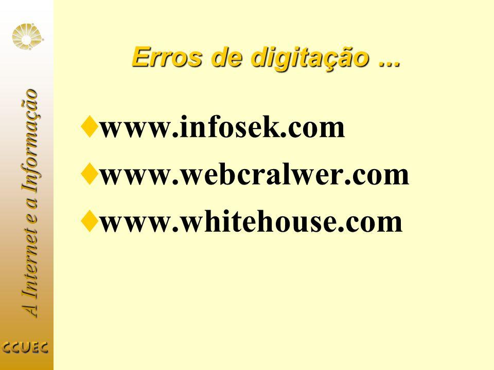 A Internet e a Informação Erros de digitação... www.infosek.com www.webcralwer.com www.whitehouse.com