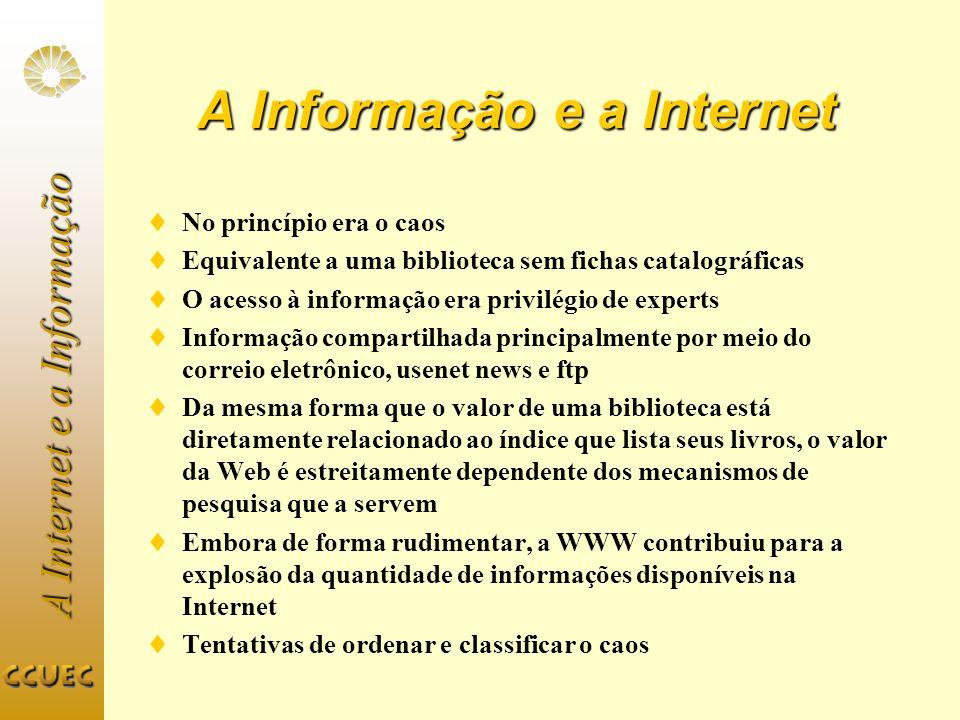 A Internet e a Informação Tamanho da Web Estima-se que existam hoje cerca de 150 milhões de páginas na Web distribuídos em 650.000 servidores Em 1995, quando do lançamento do AltaVista, existiam 50 milhões de páginas distribuídas por 100.000 servidores
