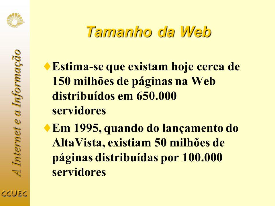 A Internet e a Informação Yahoo (1) URL: http://www.yahoo.comhttp://www.yahoo.com Lançado em abril de 1994 por David Filo e Jerry Yang, estudantes de doutoramento em Stanford 25 a 40 milhões de acessos mensais 50 milhões de páginas servidas diariamente 70 servidores rodando FreeBSD Tráfego de 200MB/s em horários de pico Informações catalogadas por uma equipe de aproximadamente 50 pessoas