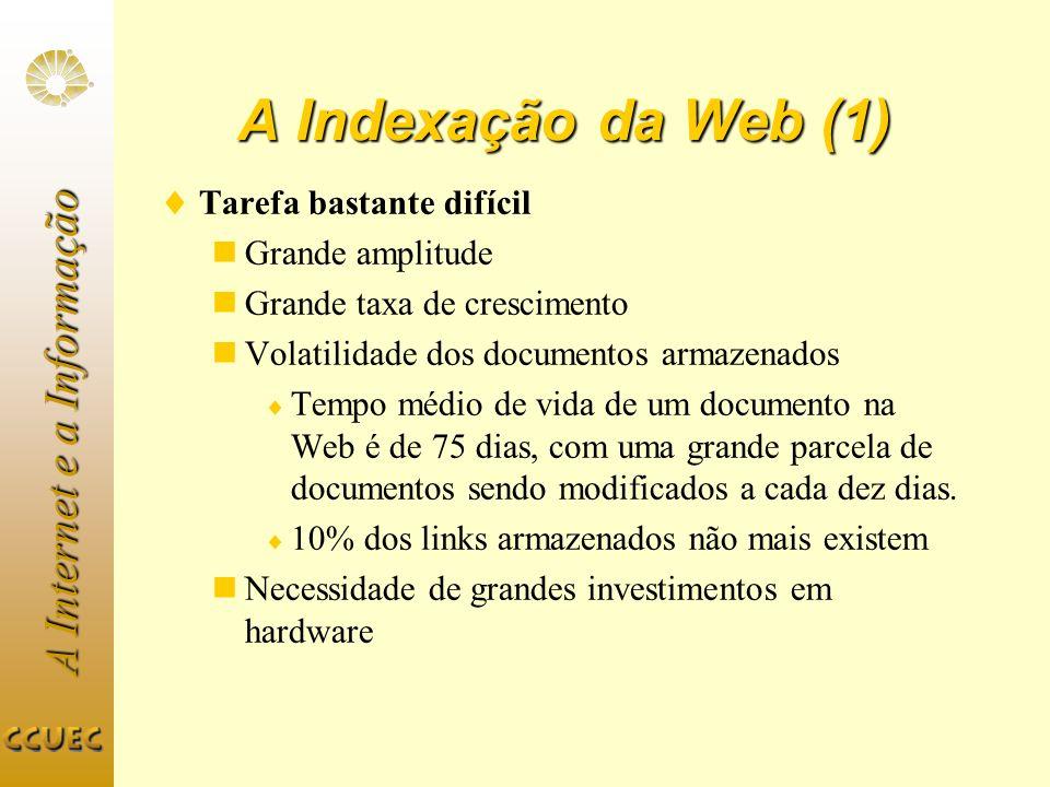 A Internet e a Informação A Indexação da Web (1) Tarefa bastante difícil Grande amplitude Grande taxa de crescimento Volatilidade dos documentos armaz