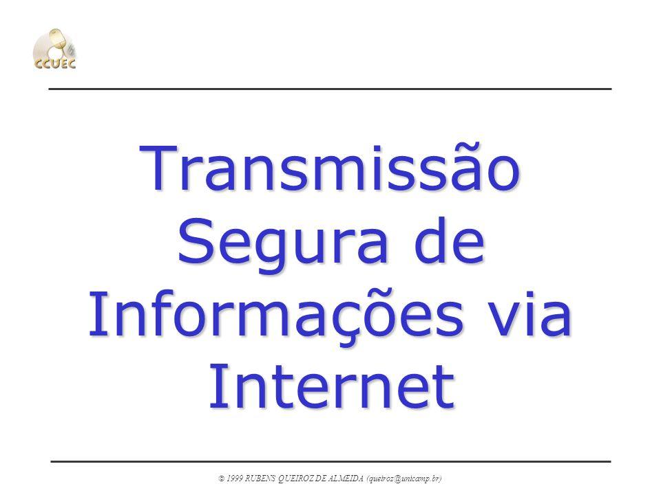 1999 RUBENS QUEIROZ DE ALMEIDA (queiroz@unicamp.br) URLs n Protocolo SSL m http://home.netscape.com/newsref/std/SSL.html http://home.netscape.com/newsref/std/SSL.html n Protocolo SHTTP m http://www.eit.com/projects/s-http/ http://www.eit.com/projects/s-http/ n Verisign m http://www.verisign.com/ http://www.verisign.com/ n RSA Data Security m http://www.rsa.com/ http://www.rsa.com/