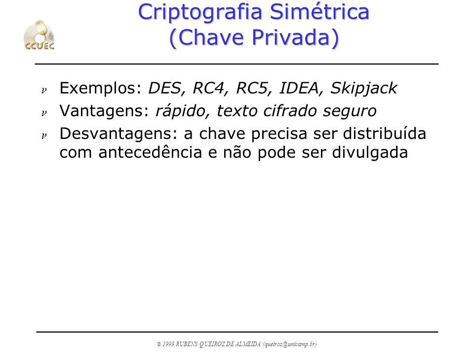 1999 RUBENS QUEIROZ DE ALMEIDA (queiroz@unicamp.br) Criptografia Simétrica (Chave Privada) n Exemplos: DES, RC4, RC5, IDEA, Skipjack n Vantagens: rápi
