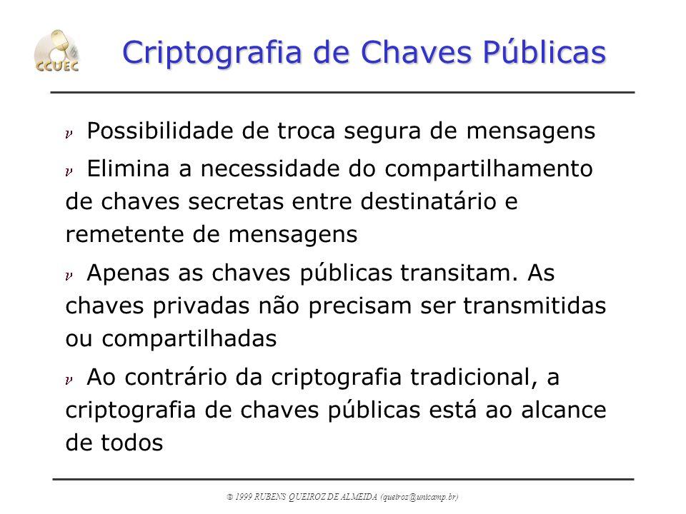 1999 RUBENS QUEIROZ DE ALMEIDA (queiroz@unicamp.br) Criptografia de Chaves Públicas n Possibilidade de troca segura de mensagens n Elimina a necessida