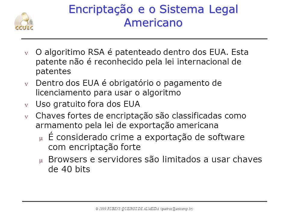 1999 RUBENS QUEIROZ DE ALMEIDA (queiroz@unicamp.br) Encriptação e o Sistema Legal Americano n O algoritimo RSA é patenteado dentro dos EUA. Esta paten