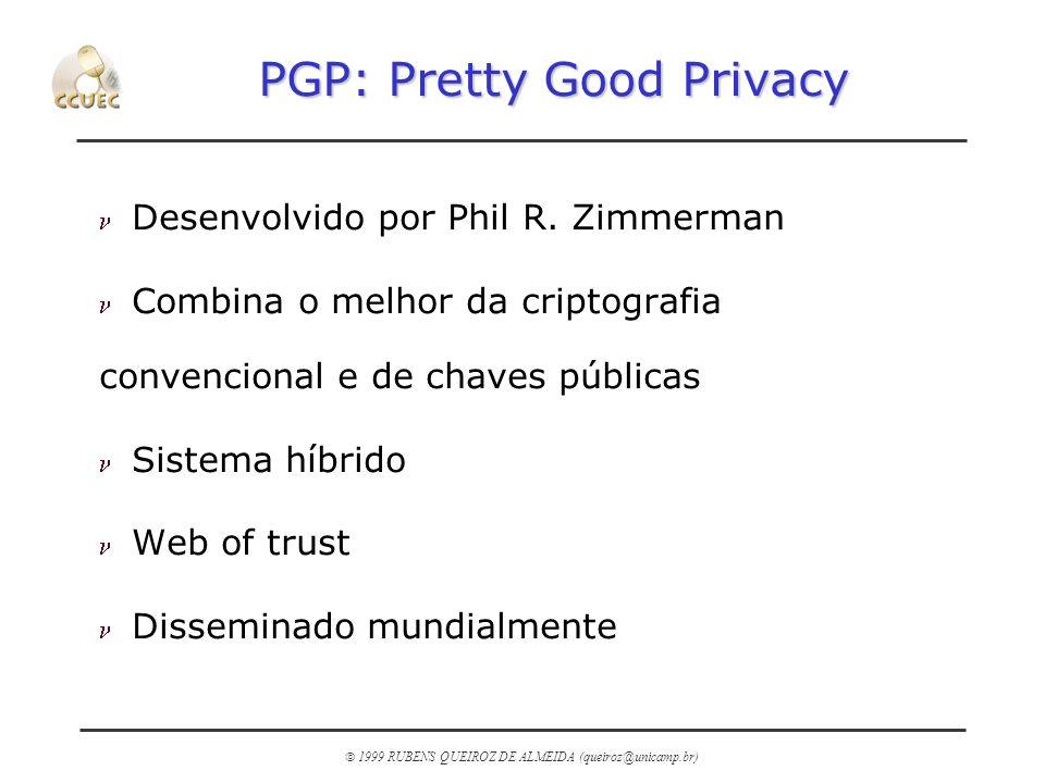 1999 RUBENS QUEIROZ DE ALMEIDA (queiroz@unicamp.br) PGP: Pretty Good Privacy n Desenvolvido por Phil R. Zimmerman n Combina o melhor da criptografia c
