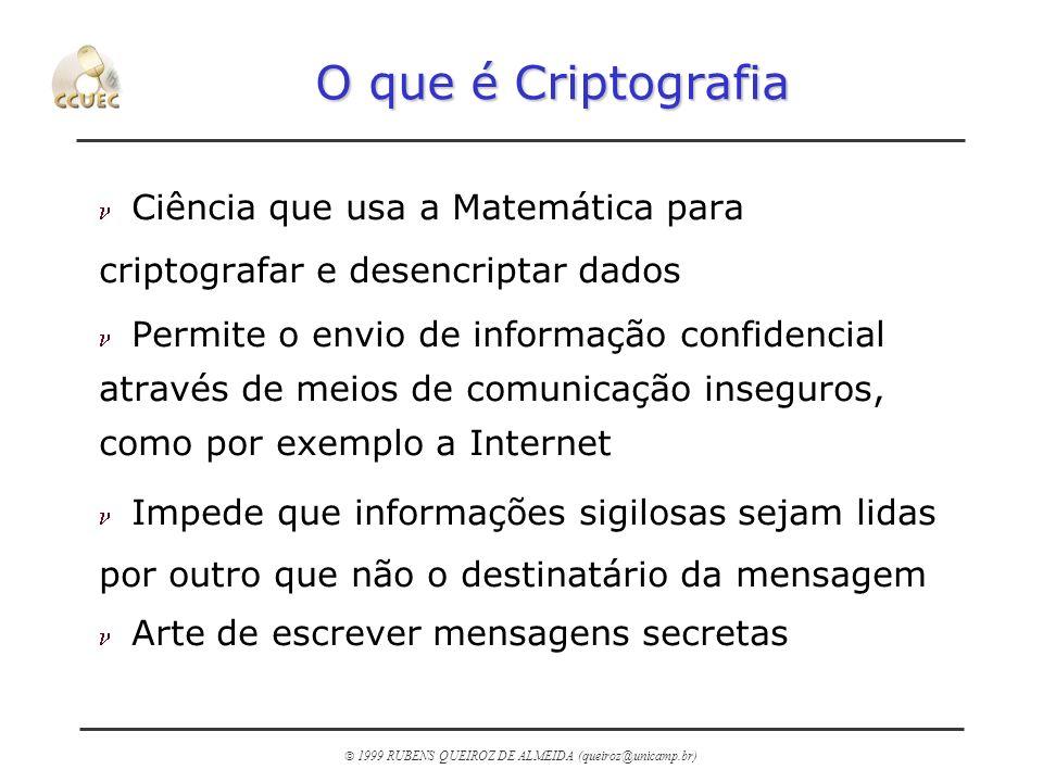 1999 RUBENS QUEIROZ DE ALMEIDA (queiroz@unicamp.br) O que é Criptografia n Ciência que usa a Matemática para criptografar e desencriptar dados n Permi