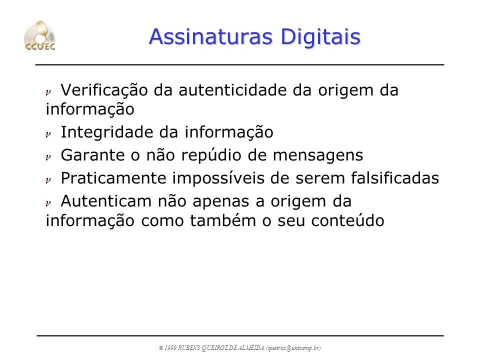 1999 RUBENS QUEIROZ DE ALMEIDA (queiroz@unicamp.br) Assinaturas Digitais n Verificação da autenticidade da origem da informação n Integridade da infor