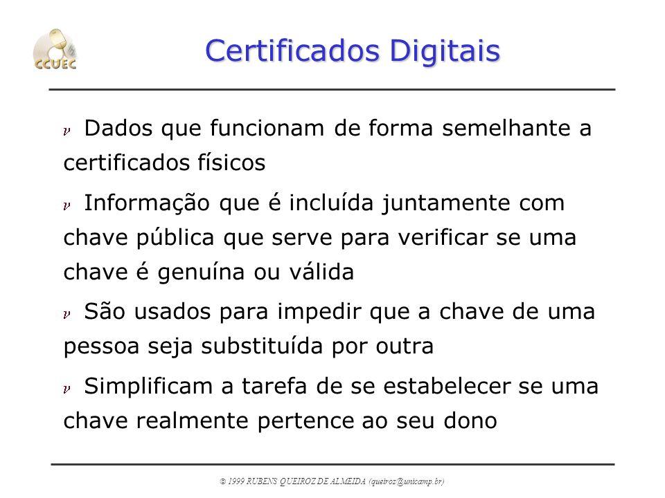 1999 RUBENS QUEIROZ DE ALMEIDA (queiroz@unicamp.br) Certificados Digitais n Dados que funcionam de forma semelhante a certificados físicos n Informaçã
