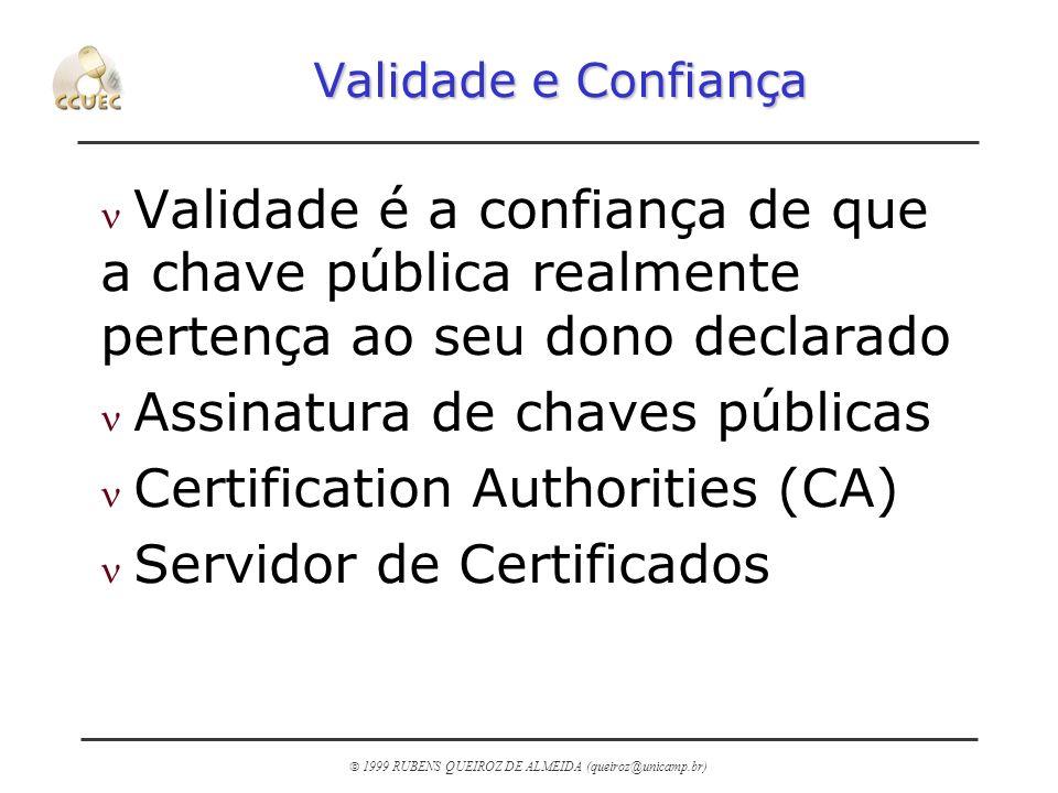 1999 RUBENS QUEIROZ DE ALMEIDA (queiroz@unicamp.br) Validade e Confiança n Validade é a confiança de que a chave pública realmente pertença ao seu don