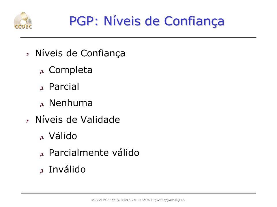1999 RUBENS QUEIROZ DE ALMEIDA (queiroz@unicamp.br) PGP: Níveis de Confiança n Níveis de Confiança m Completa m Parcial m Nenhuma n Níveis de Validade