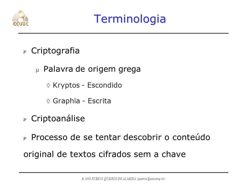 1999 RUBENS QUEIROZ DE ALMEIDA (queiroz@unicamp.br) Terminologia n Criptografia m Palavra de origem grega àKryptos - Escondido àGraphia - Escrita n Cr
