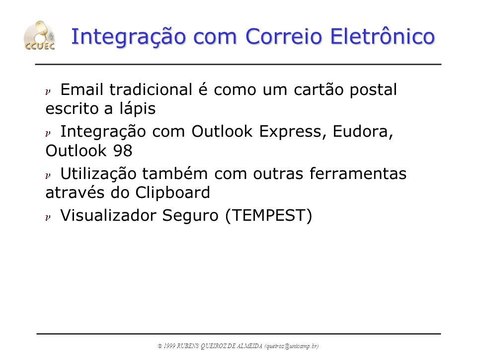 1999 RUBENS QUEIROZ DE ALMEIDA (queiroz@unicamp.br) Integração com Correio Eletrônico n Email tradicional é como um cartão postal escrito a lápis n In