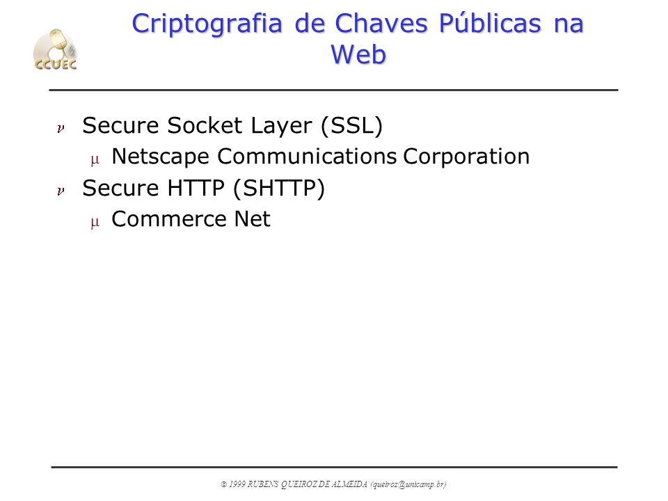 1999 RUBENS QUEIROZ DE ALMEIDA (queiroz@unicamp.br) Criptografia de Chaves Públicas na Web n Secure Socket Layer (SSL) m Netscape Communications Corpo