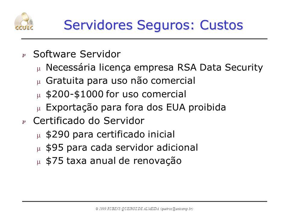 1999 RUBENS QUEIROZ DE ALMEIDA (queiroz@unicamp.br) Servidores Seguros: Custos n Software Servidor m Necessária licença empresa RSA Data Security m Gr