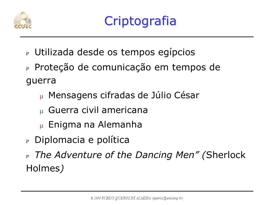 1999 RUBENS QUEIROZ DE ALMEIDA (queiroz@unicamp.br) Mensagens Cifradas de Júlio Cesar ABCDEFGHIJKLMNOPQRSTUVWXYZ NOPQRSTUVWXYZABCDEFGHIJKLM THE GOTHS COMETH rotação de 13 posições FUR TAFUE PAYRFU Texto aberto chave texto cifrado 13