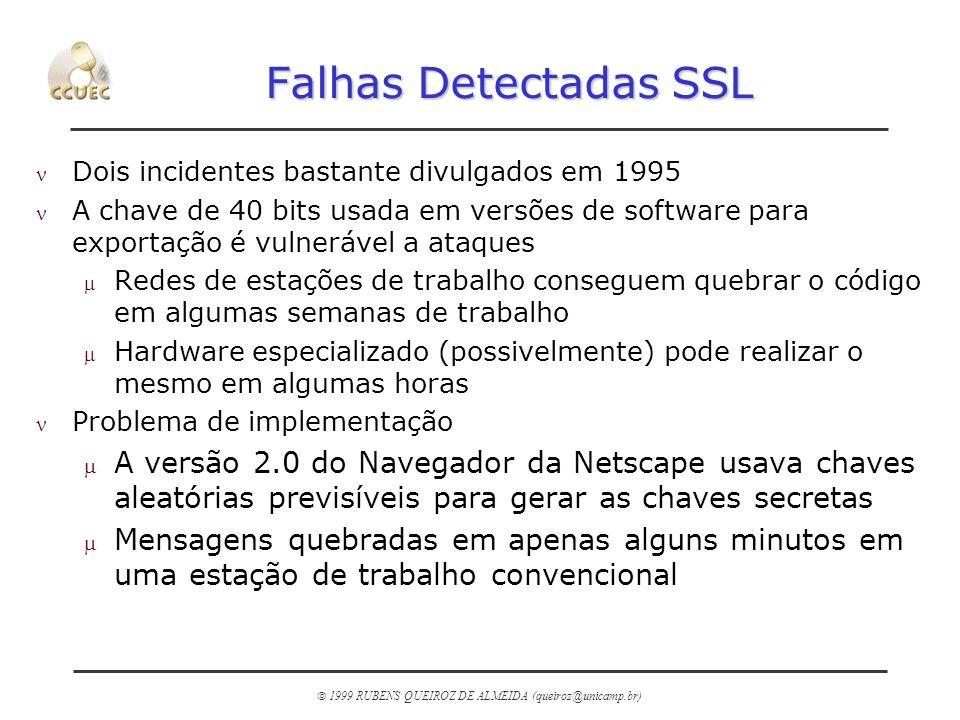 1999 RUBENS QUEIROZ DE ALMEIDA (queiroz@unicamp.br) Falhas Detectadas SSL n Dois incidentes bastante divulgados em 1995 n A chave de 40 bits usada em