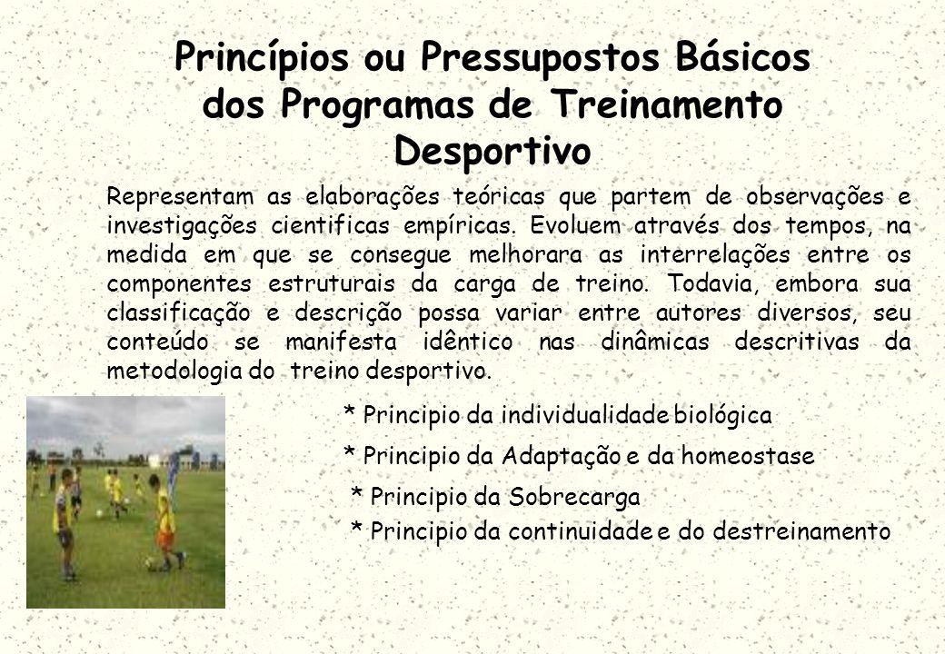 Princípios ou Pressupostos Básicos dos Programas de Treinamento Desportivo Representam as elaborações teóricas que partem de observações e investigações cientificas empíricas.