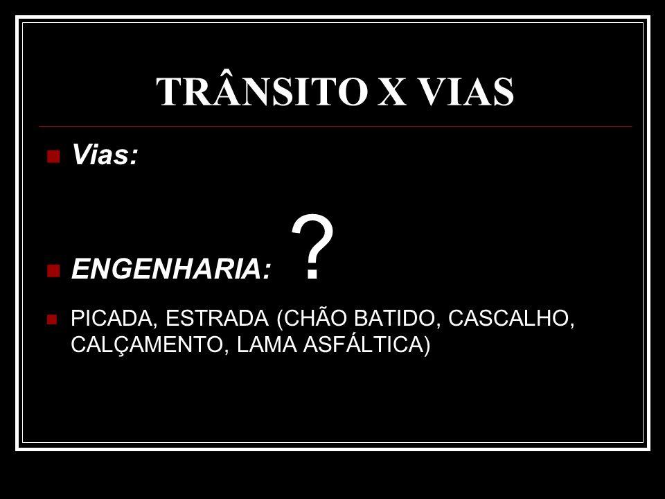 TRÂNSITO X VIAS Vias: ENGENHARIA: ? PICADA, ESTRADA (CHÃO BATIDO, CASCALHO, CALÇAMENTO, LAMA ASFÁLTICA)