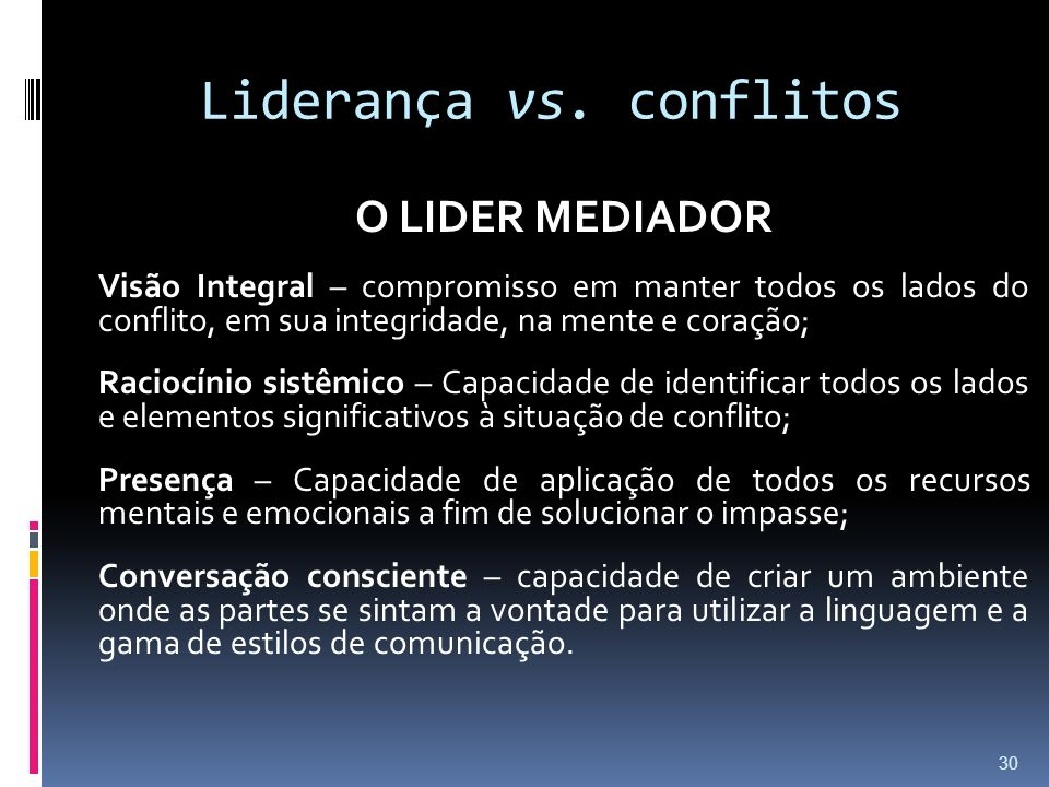 Liderança vs. conflitos O LIDER MEDIADOR Visão Integral – compromisso em manter todos os lados do conflito, em sua integridade, na mente e coração; Ra