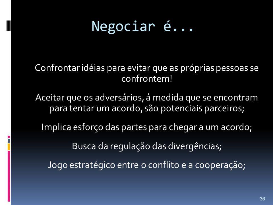 Negociar é... Confrontar idéias para evitar que as próprias pessoas se confrontem! Aceitar que os adversários, á medida que se encontram para tentar u