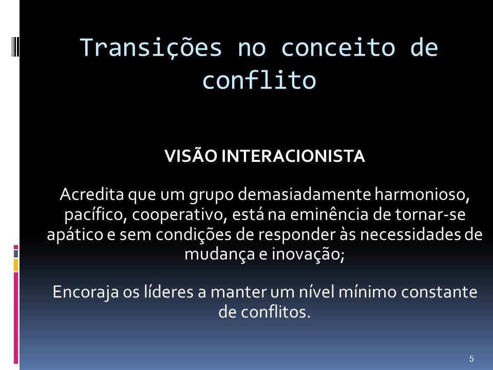 Transições no conceito de conflito VISÃO INTERACIONISTA Acredita que um grupo demasiadamente harmonioso, pacífico, cooperativo, está na eminência de t