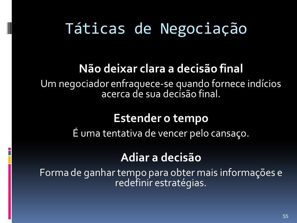 Táticas de Negociação Não deixar clara a decisão final Um negociador enfraquece-se quando fornece indícios acerca de sua decisão final. Estender o tem