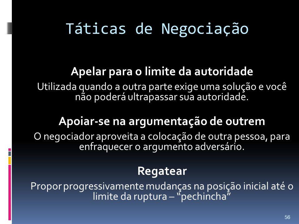 Táticas de Negociação Apelar para o limite da autoridade Utilizada quando a outra parte exige uma solução e você não poderá ultrapassar sua autoridade.