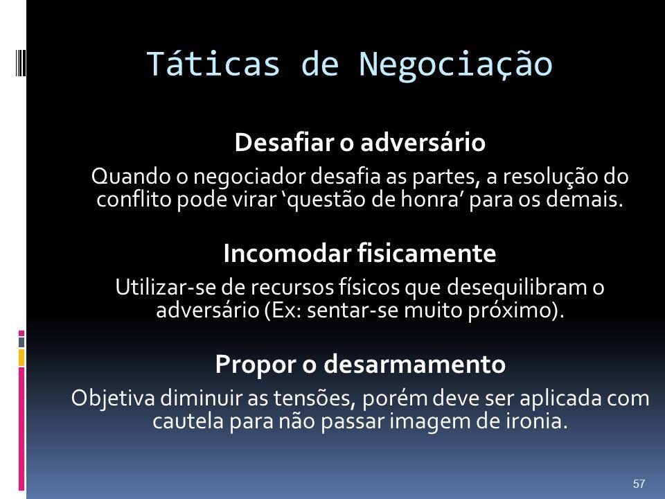 Táticas de Negociação Desafiar o adversário Quando o negociador desafia as partes, a resolução do conflito pode virar questão de honra para os demais.