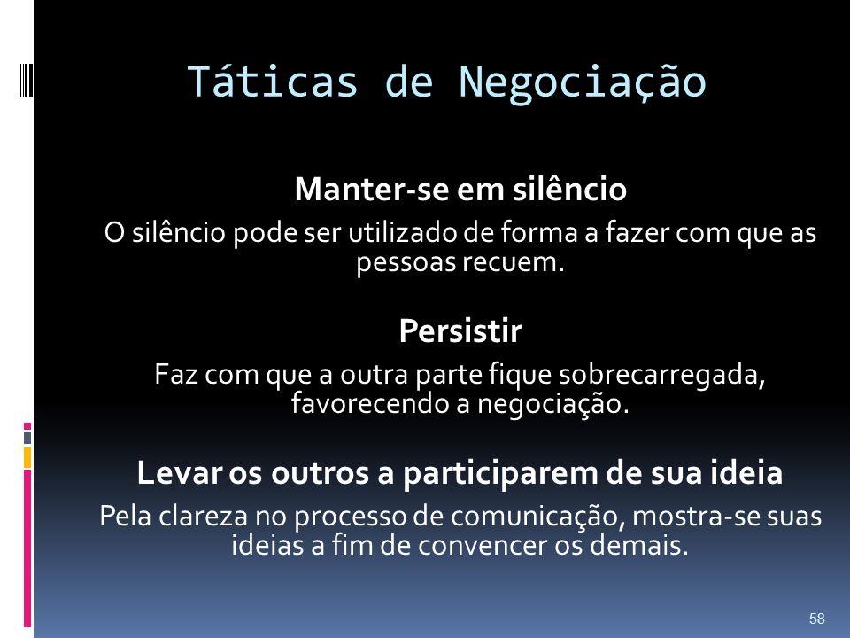 Táticas de Negociação Manter-se em silêncio O silêncio pode ser utilizado de forma a fazer com que as pessoas recuem.