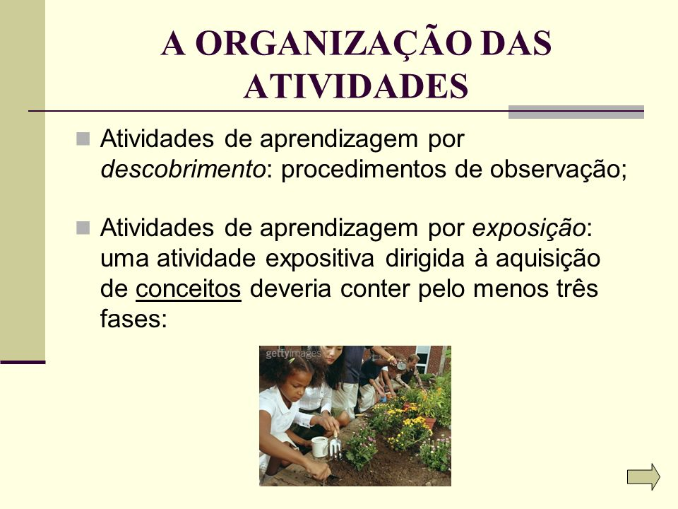 A ORGANIZAÇÃO DAS ATIVIDADES Atividades de aprendizagem por descobrimento: procedimentos de observação; Atividades de aprendizagem por exposição: uma