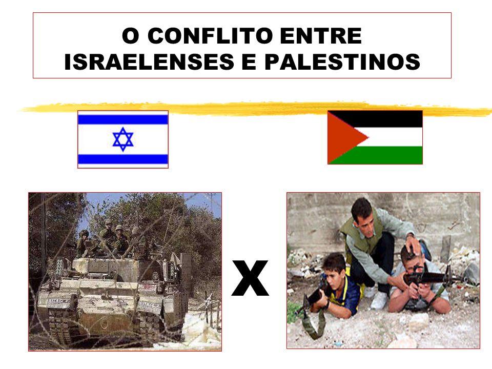 O CONFLITO ENTRE ISRAELENSES E PALESTINOS X