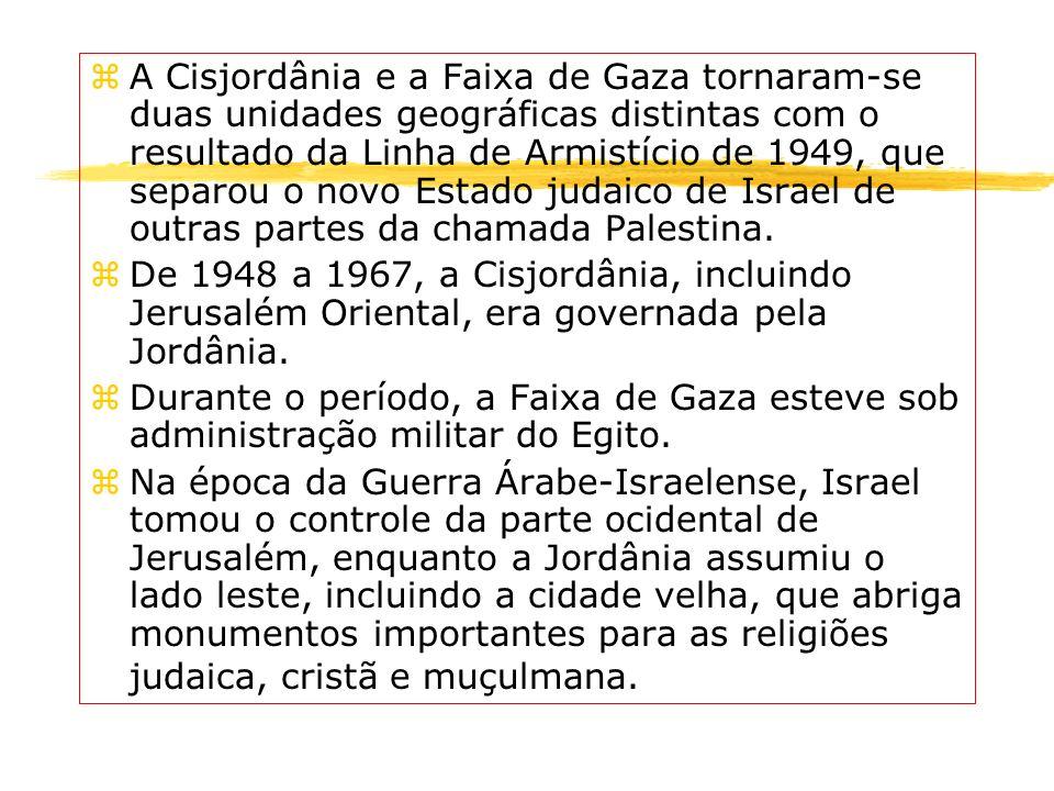 zA Cisjordânia e a Faixa de Gaza tornaram-se duas unidades geográficas distintas com o resultado da Linha de Armistício de 1949, que separou o novo Es