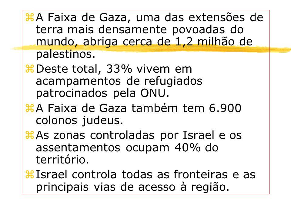 zA Faixa de Gaza, uma das extensões de terra mais densamente povoadas do mundo, abriga cerca de 1,2 milhão de palestinos. zDeste total, 33% vivem em a