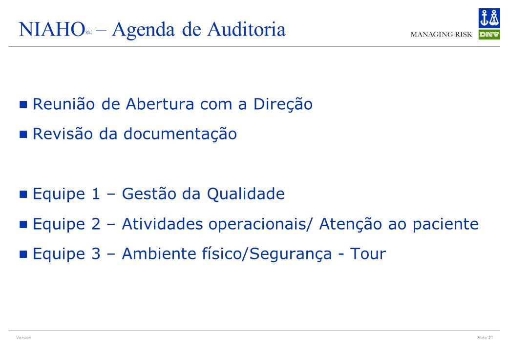 Version NIAHO SM – Agenda de Auditoria Reunião de Abertura com a Direção Revisão da documentação Equipe 1 – Gestão da Qualidade Equipe 2 – Atividades