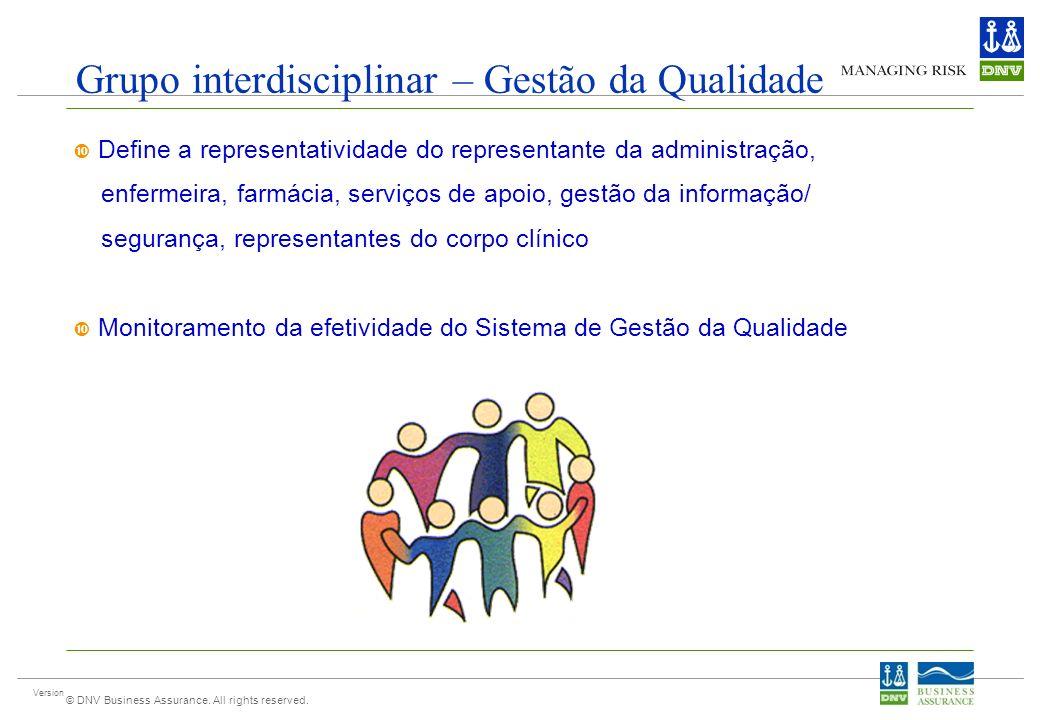 Version © DNV Business Assurance. All rights reserved. Grupo interdisciplinar – Gestão da Qualidade Define a representatividade do representante da ad