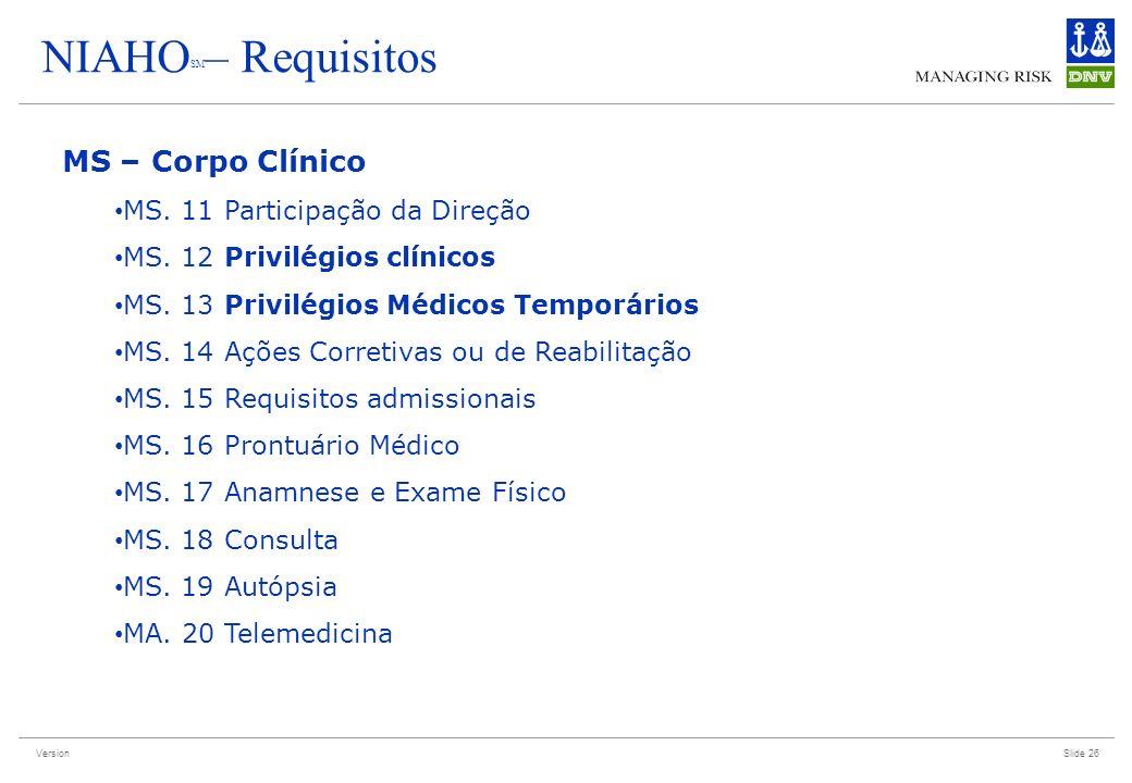 Version Slide 26 NIAHO SM – Requisitos MS – Corpo Clínico MS. 11 Participação da Direção MS. 12 Privilégios clínicos MS. 13 Privilégios Médicos Tempor