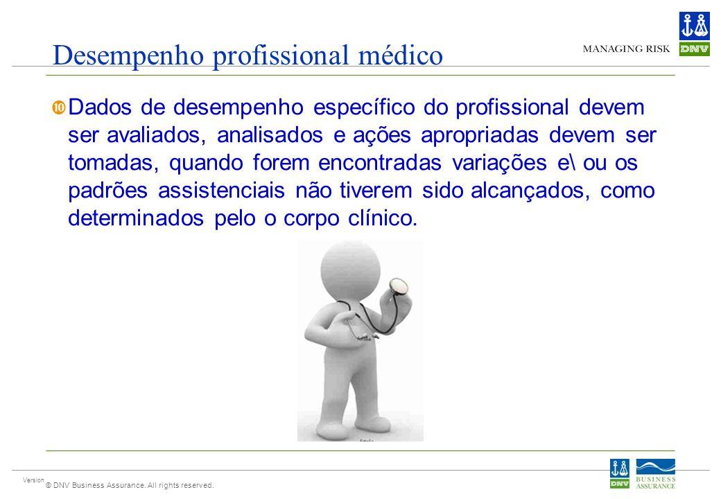 Version © DNV Business Assurance. All rights reserved. Desempenho profissional médico Dados de desempenho específico do profissional devem ser avaliad