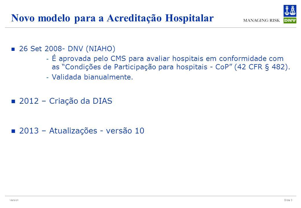 Version Novo modelo para a Acreditação Hospitalar 26 Set 2008- DNV (NIAHO) - É aprovada pelo CMS para avaliar hospitais em conformidade com as Condiçõ
