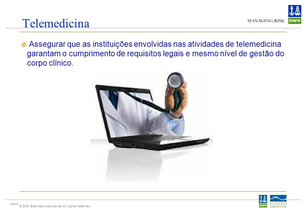 Version © DNV Business Assurance. All rights reserved. Telemedicina Assegurar que as instituições envolvidas nas atividades de telemedicina garantam o