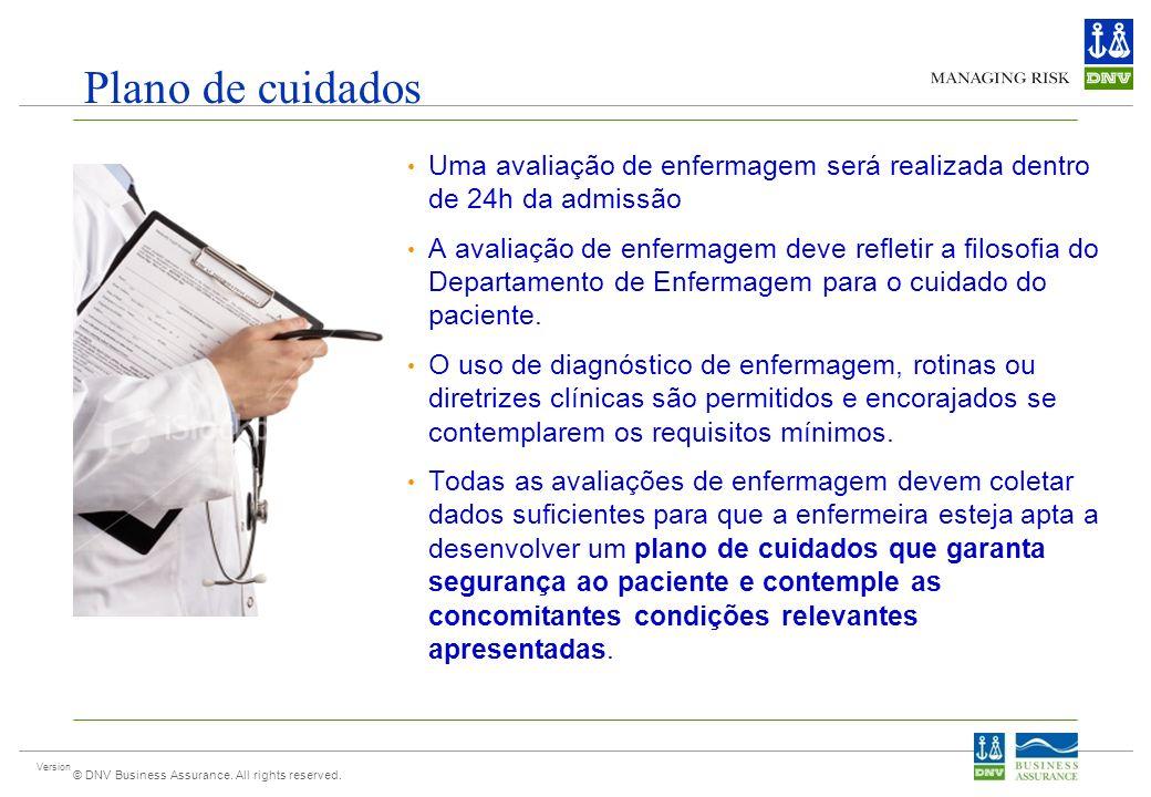 Version © DNV Business Assurance. All rights reserved. Plano de cuidados Uma avaliação de enfermagem será realizada dentro de 24h da admissão A avalia