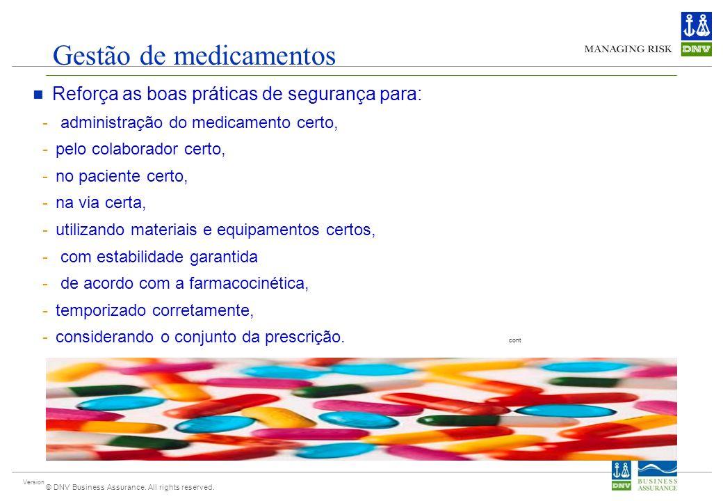 Version © DNV Business Assurance. All rights reserved. Gestão de medicamentos Reforça as boas práticas de segurança para: - administração do medicamen