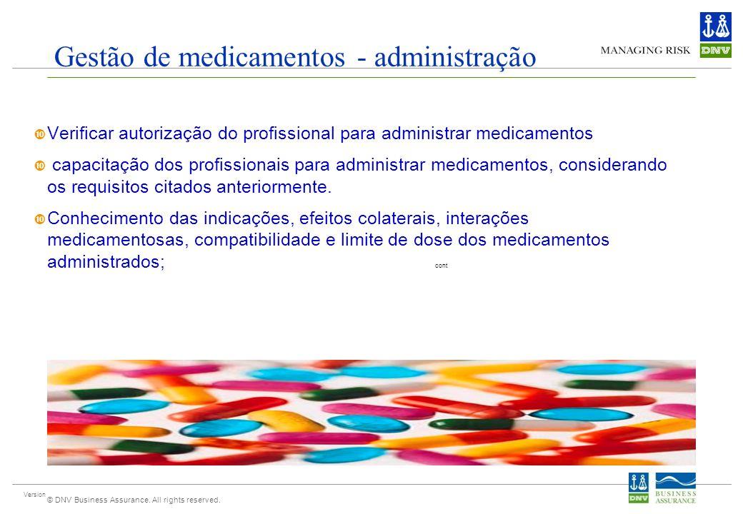 Version © DNV Business Assurance. All rights reserved. Gestão de medicamentos - administração Verificar autorização do profissional para administrar m
