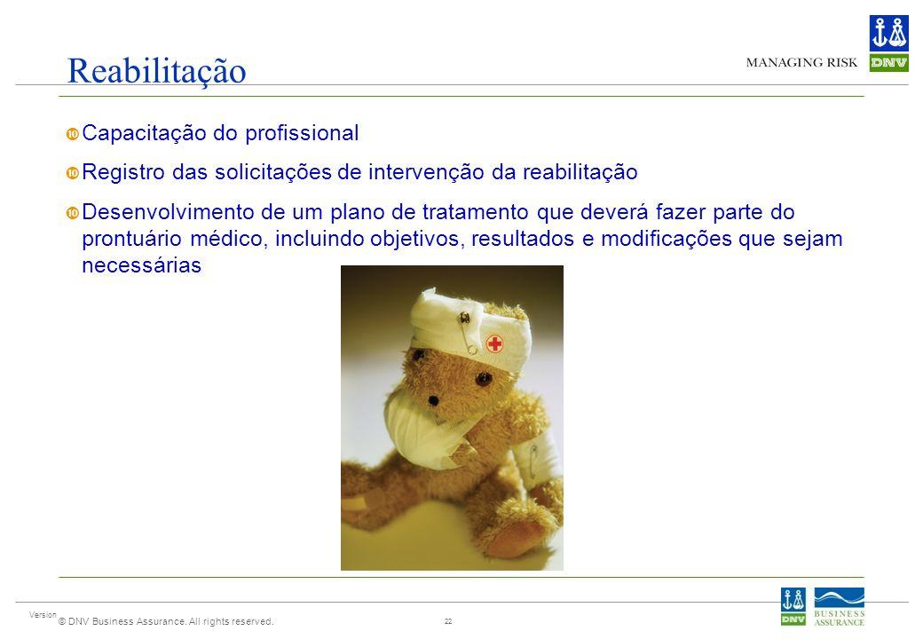 Version © DNV Business Assurance. All rights reserved. Reabilitação Capacitação do profissional Registro das solicitações de intervenção da reabilitaç