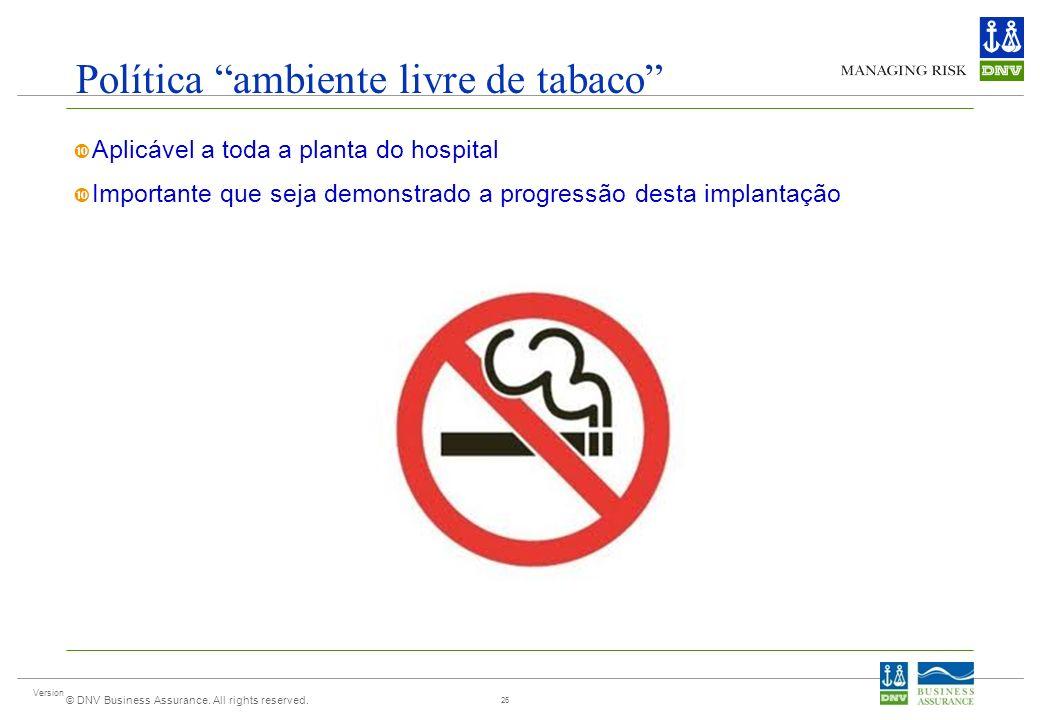 Version © DNV Business Assurance. All rights reserved. Política ambiente livre de tabaco Aplicável a toda a planta do hospital Importante que seja dem