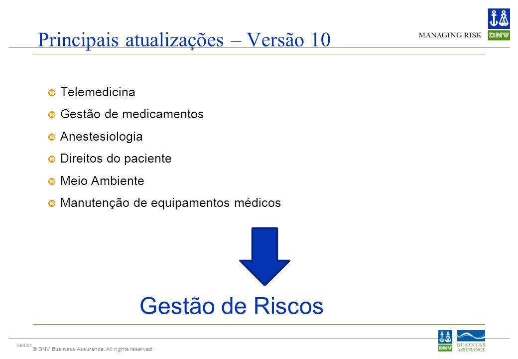 Version © DNV Business Assurance. All rights reserved. Principais atualizações – Versão 10 Telemedicina Gestão de medicamentos Anestesiologia Direitos