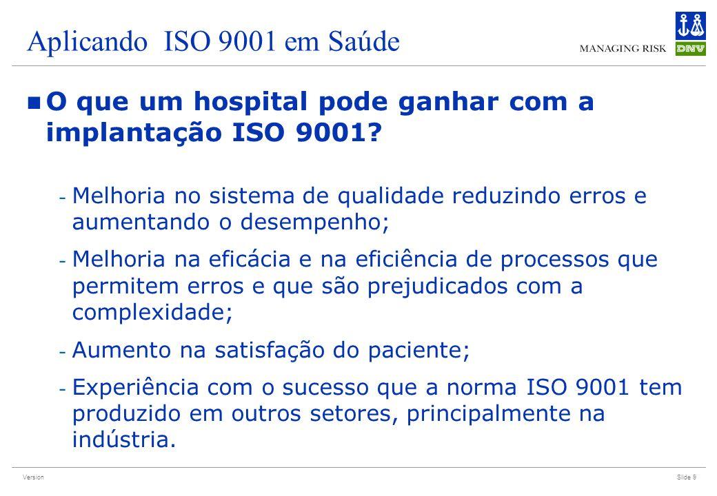 Version Aplicando ISO 9001 em Saúde O que um hospital pode ganhar com a implantação ISO 9001? - Melhoria no sistema de qualidade reduzindo erros e aum
