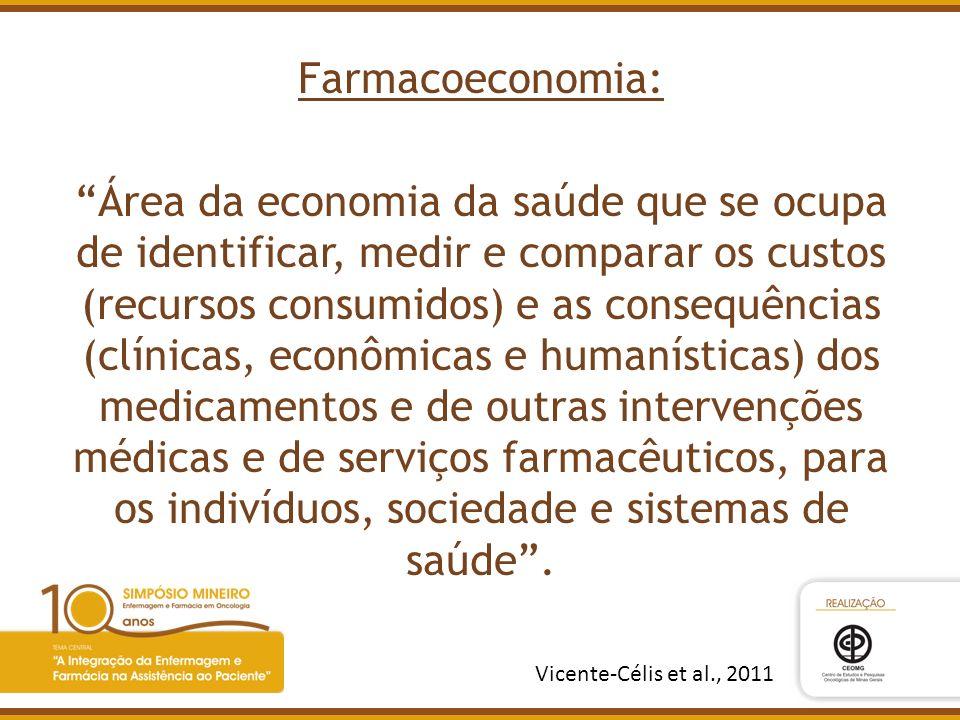 Farmacoeconomia: Área da economia da saúde que se ocupa de identificar, medir e comparar os custos (recursos consumidos) e as consequências (clínicas,