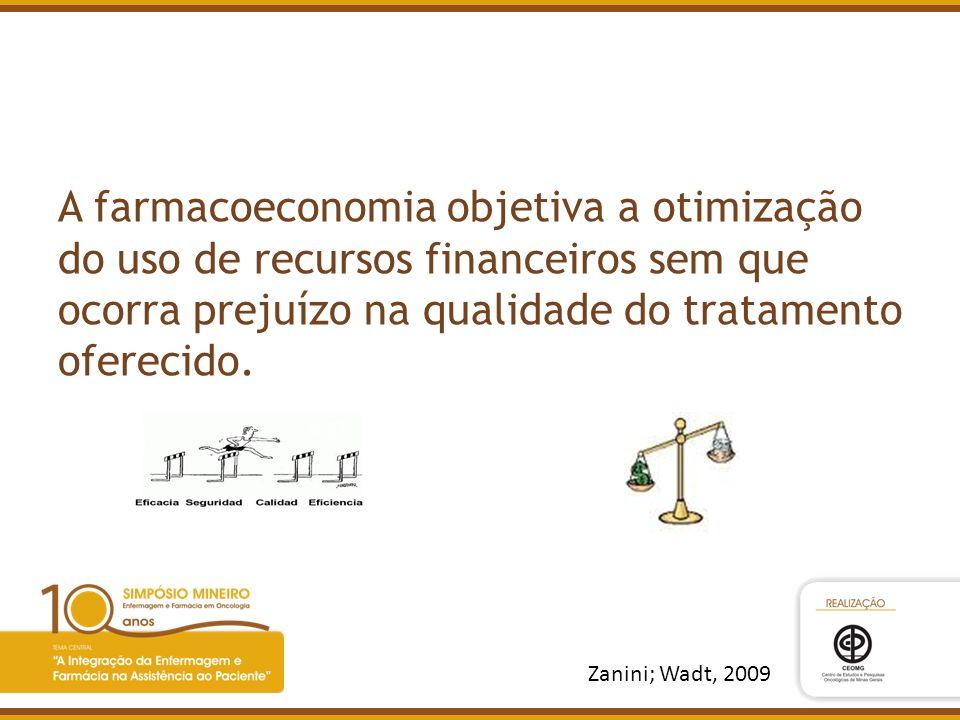 A farmacoeconomia objetiva a otimização do uso de recursos financeiros sem que ocorra prejuízo na qualidade do tratamento oferecido. Zanini; Wadt, 200